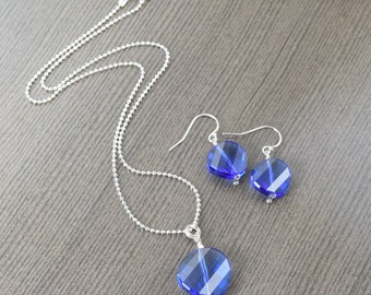 ON SALE Sapphire necklace September birthstone necklace blue crystal necklace sapphire earring set (last one) gifts for her