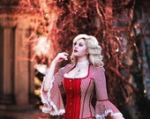 Sweeny Todd Wedding Gown - Red and Cream Stripe Victorian Steampunk Dress -Misses Lovett- Custom to Order