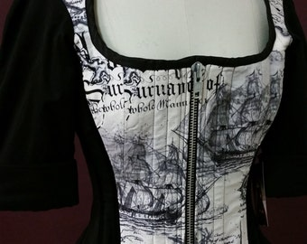 SAMPLE Pirate Steampunk Corset Jacket - Renaissance Outfit - Quest Adventurer- READY to Ship SMALL