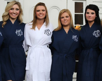 SALE Monogrammed Navy Bridesmaids Robe, Navy Robes, Bridesmaid Robes, Wedding, Gift for Her, Bridal Party Gifts