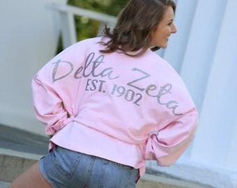 Sorority Preppy Jersey, Sorority Script Jersey, Greek Jersey, Delta Zeta, Delta Zeta Jersey, Delta Zeta shirt