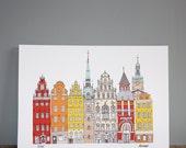 Stockholm City Print - Scandinavian A3 Illustration Wall Art
