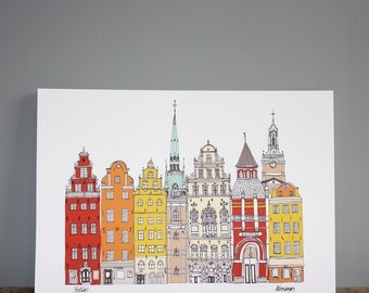 Stockholm City Print - Scandinavian A3 Illustration Wall Art