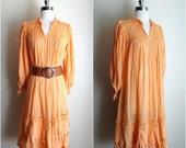 1970's bohemian festival tent dress / Vintage 70's cotton gauze dress / 70's peach tent dress