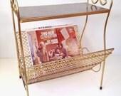 vintage record player table - record storage rack - magazine rack bin