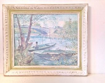 vintage lake painting - large framed acrylic - Monet style Impressionism - cottage chic art