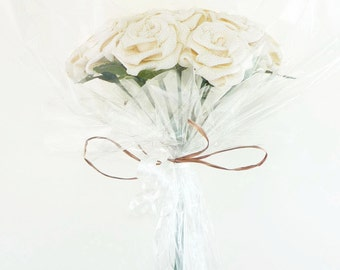 Origami Burlap Fabric Rose Bouquet in Ivory (1 Dozen Gift Wrapped) Anniversay Gift, Valentines day gift, Party favors