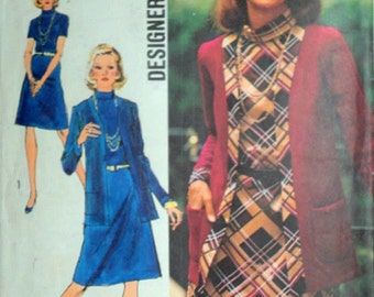 Vintage 70's Simplicity 5908 Designer Fashion Sewing Pattern, Misses' Dress and Unlined Cardigan Jacket, Size 16, 38 Bust, Retro 1970's
