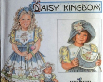 """Simplicity 7997 Daisy Kingdom Sewing Pattern,  Child's Dress, Hat, Purse And Clothes For 18"""" Doll, Size 5-6-7-8, Uncut FF"""