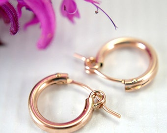"12mm tiny 14k rose gold filled hoop earrings half inch "" hollow tube hoop earrings small hoops second piercings light easy fasten lever"