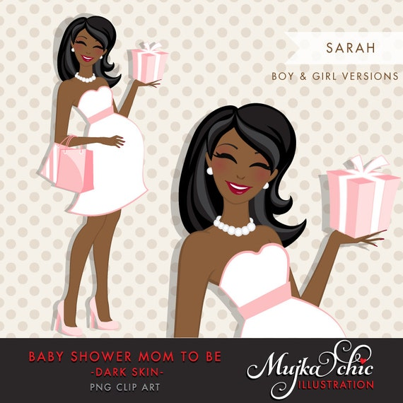 Dark Skin African American pregnant mom clipart for Baby