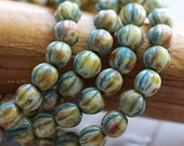 BLUE CREAM MELONS .. 25 Picasso Czech Melon Beads 6mm (5099-st)