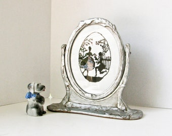 Unusual Vintage Silver Tilt Frame with Cross Stitch Romantic Couple