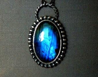Labradorite pendant / sterling and blue flash labradorite necklace / labradorite jewelry / blue gemstone necklace / boho labradorite jewelry