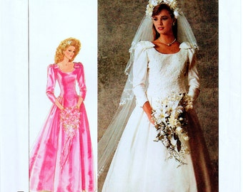 Vintage Simplicity 7937 Misses Lined Brides' and Bridesmaids' Dress and Veil Sewing Pattern Size 14 Adjustable for Petite
