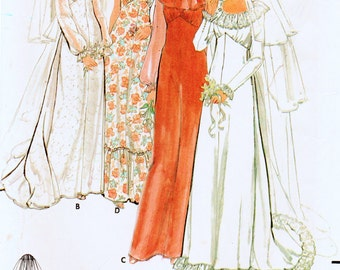 Vintage 1980's Butterick 6515 Misses' Wedding Gown, Brides Maids Dress and Bridal Veil Sewing Pattern Bust 38