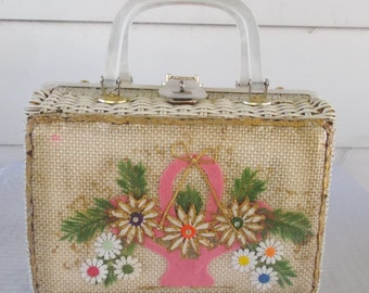 1960s Vintage Wicker and Lucite Purse with Flower Collage Under Plastic Adele Handbags of Miami