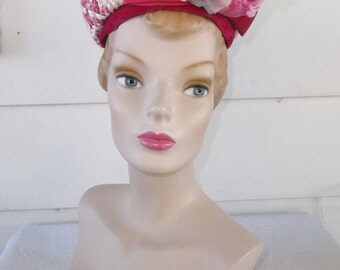 1960s Vintage Fuchsia and Pink Pillbox Hat with Rose by Jean Sutton
