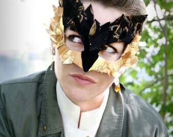 Shayera - Hawkgirl DC Comics -Inspired Masquerade Mask in Black and Gold Scrap Fabric - OOAK
