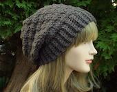 Dark Brown Crochet Hat, Womens Slouchy Beanie, Oversized Slouch Beanie, Chunky Hat, Slouchy Hat, Winter Hat, Slouch Hat