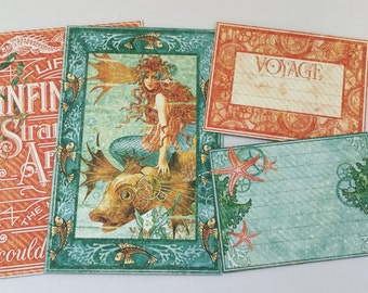 Voyage Beneath the Sea - Graphic 45 Journal Cards - Chipboard Die Cuts - Steampunk Pictures, Journal Spots & Quote Embellishments - 8 Pieces