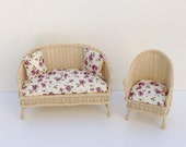 Dollhouse Miniature Wicker Couch and Chair Handmade