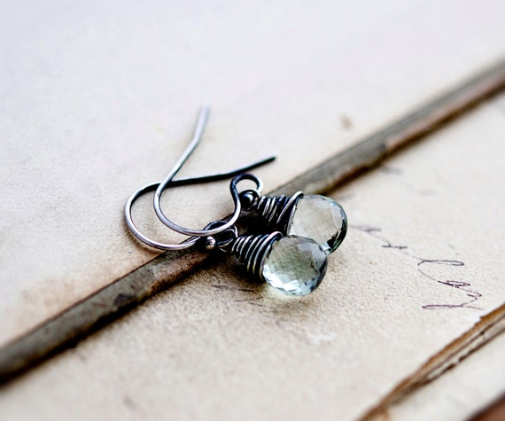 Green Amethyst Earrings, Amethyst Jewelry, February Birthstone, Drop Earrings, Dangle Earrings, Mint Green, Sterling Silver