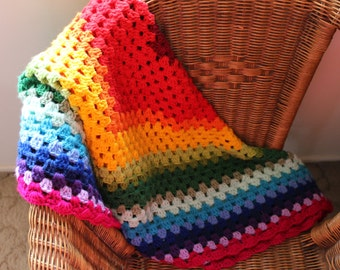 Rainbow Crochet Granny Square Lap Throw  Blanket Afghan Square Home Decor Bedding Made in Australia