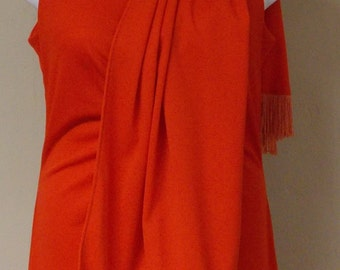 Vintage coral orange full length gown dress matching fringed shawl wrap S/M