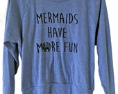 Mermaid Raglan Sweater - American Apparel SOFT vintage feel - Available in sizes S, M, L