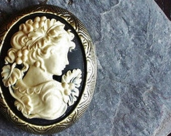 Grecian black cameo locket, large locket, long necklace, antique brass locket