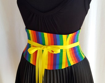 Rainbow Corset Waist Cincher Belt - Any Size Lace Up Striped Obi