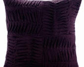 Purple Throw Pillow Covers 18x18 Inches Linen Pillows Pintuck Pillow Covers for Couch and Bed Purple Pleats