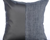 """Grey Pillow Covers, 16""""x16"""" Faux Leather Pillow Covers, Square  Color Block Club & Lounge Theme Pillows Cover - Charcoal Grey Leather N Jute"""
