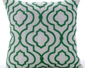 Decorative Throw Pillow Cover Accent Pillow Couch Bed Pillow Case 16x16 White Silk Pillow Cover Missoni Green Bead Embroidered Royal Missoni