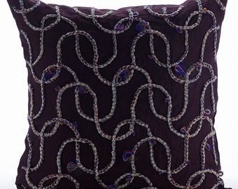 "Handmade Purple Throw Pillows Cover, 16""x16"" Cotton Linen Pillows Cover, Square  Jute Cord Lattice Trellis Pillows Cover - Jute Fun"