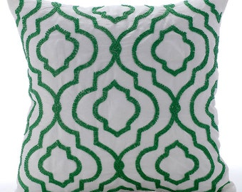 "White Throw Pillows Cover For Couch,  Square  Green Beaded Lattice Trellis 16""x16"" Silk Pillows Covers For Couch - Royal Moosonee"