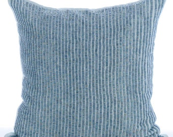 Decorative Throw Pillow Covers Couch Sofa Pillow Toss Pillow 26x26 Inch Euro Sham Blue Linen Bead Embroidered Pillow Home Living Misty Blue