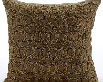 "Designer Gold Decorative Pillows Cover, 16""x16"" Silk Pillowcase, Square  Metallic Lattice Trellis Pillows Cover - Gold Trinity"