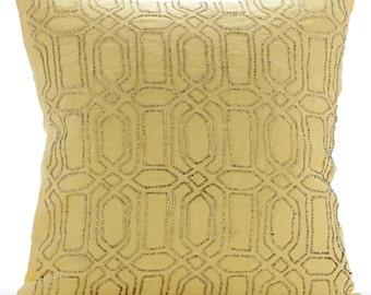 "Designer Yellow Pillows Cover, 16""x16"" Cotton Linen Pillowcase, Square  Lattice Trellis Pillowcases - Yellow Palace"