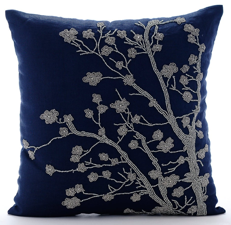 Navy Blue Throw Pillow Covers Square Magnolia Flower Floral