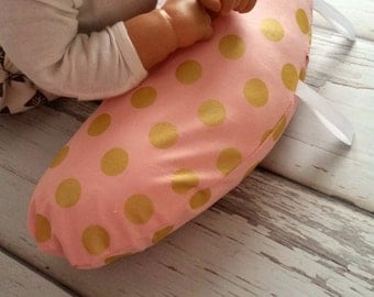 Organic Tummy Time Support Pillow, Pink and Gold Dots