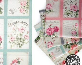 Quilt Gate Rose Bouquet - RURU Rose for You - Postcard QG222011C Blue, 1 panel