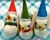 Reserved Listing Vintage Japan Christmas Ornament Cute Felt Kawaii Lot of 3 White Birds