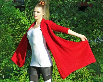 Unique Knit Red Shawl  Asymmetrical One Sleeved Top Sweater Women Boho Chic Wrap Jacket  Shawl  Jacket  Rouge Handmade Shrug Lounge Wear