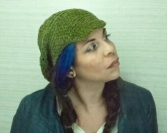 Green Tones Hat Billed Beanie