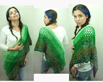 Striped Sweater Shades of Green Ombre Shawl Wrap One Sleeved