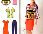 UNCUT SImplicity Pattern 1620 - Misses Pullover Dress or Tunic, Pants and Jacket in Two Lengths and Tie Belt - Sizes 10-18