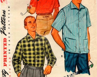 Vintage 1955 Simplicity Pattern 1407 - Man's Sport Shirt with Long or Short Sleeves, Back Yoke, and Soft Roll Collar - Size Medium 38-40