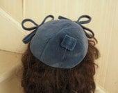 1940s WWll Era CAROLINE Blue Velveteen Cap Topper Hat Bow Accent Matching Hatpin